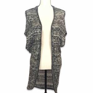 Derek Heart black & white sleeveless cardigan vest